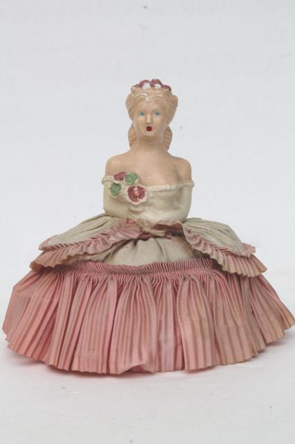 Vintage Chalkware Lady Half Doll Pincushion W Taffeta Pin