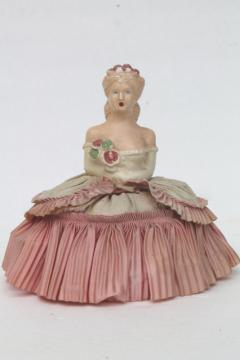vintage chalkware lady half doll pincushion w/ taffeta pin cushion skirt, antique boudoir doll