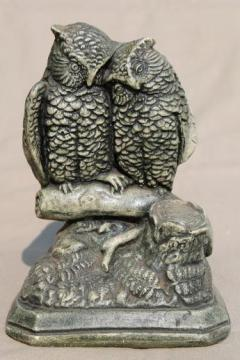 vintage chalkware owls, rustic grey 'stone' gothic cemetery crypt Halloween statue