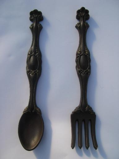 Big Spoon And Fork Wall Decor vintage chalkware plaques, big fork and spoon for retro kitchen