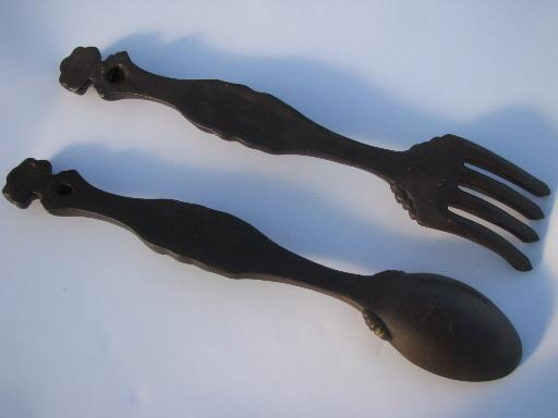 Vintage Chalkware Plaques Big Fork And Spoon For Retro