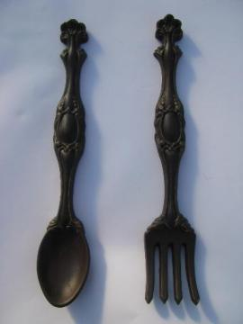 vintage chalkware plaques, big fork and spoon for retro kitchen wall art