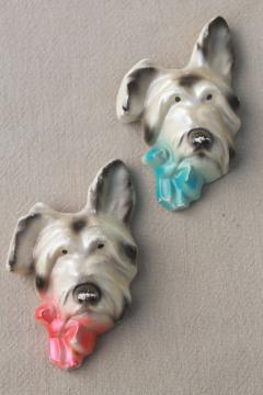 vintage chalkware terriers, pair of terrier dog wall plaques w/ pink & blue bows
