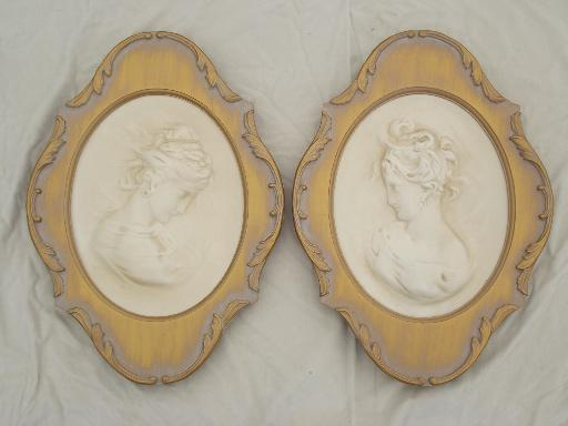 Vintage Chalkware Wall Art Plaques Cameos Of Young Ladies