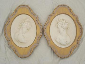 vintage chalkware wall art plaques, cameos of young ladies framed in antique gold