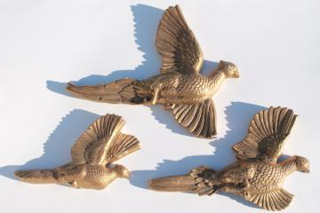 vintage chalkware wall art plaques, set of gold pheasants game birds flying
