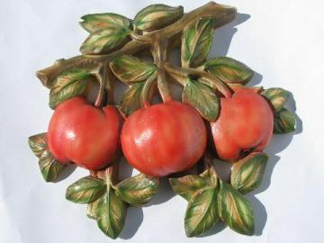 vintage chalkware wall plaque, painted red apples for the kitchen