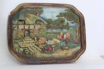 vintage chalkware wall plaque picture, English country cottage thatched Tudor garden flowers
