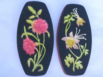 vintage chalkware wall plaques, butter print flowers for the kitchen