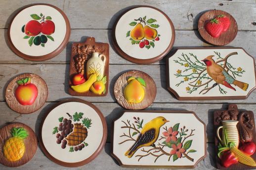Vintage Chalkware Wall Plaques   Wood Grain Kitchen Boards U0026 Bright Fruit,  U0027carvedu0027 Birds