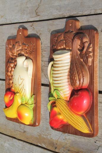 Vintage Chalkware Wall Plaques Wood Grain Kitchen Boards