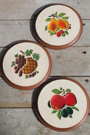vintage chalkware wall plaques - wood grain kitchen boards & bright fruit, 'carved' birds