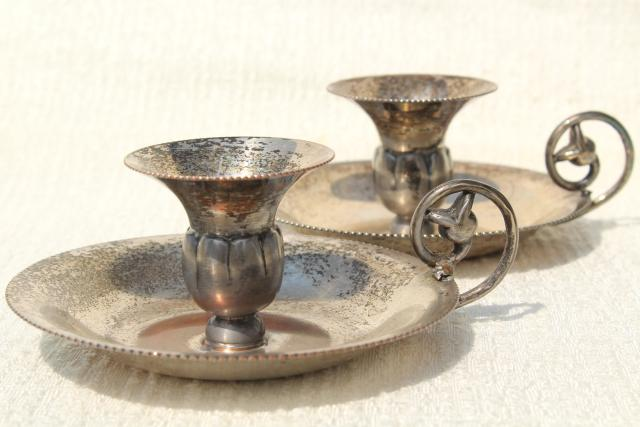vintage chamber candlesticks silver over copper, Queens Art Pewter silverplate