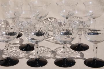 vintage champagne glasses, Weston crystal clear optic pattern glasses w/ black glass foot