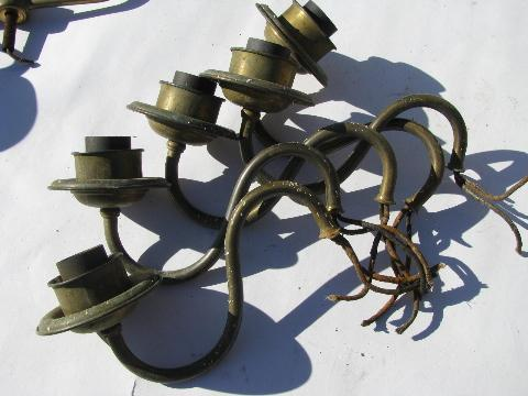 vintage chandelier light restoration pieces lot, old lamp parts, some solid brass