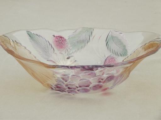 Vintage Cherry Berry Glass Fruit Bowls Set Colored