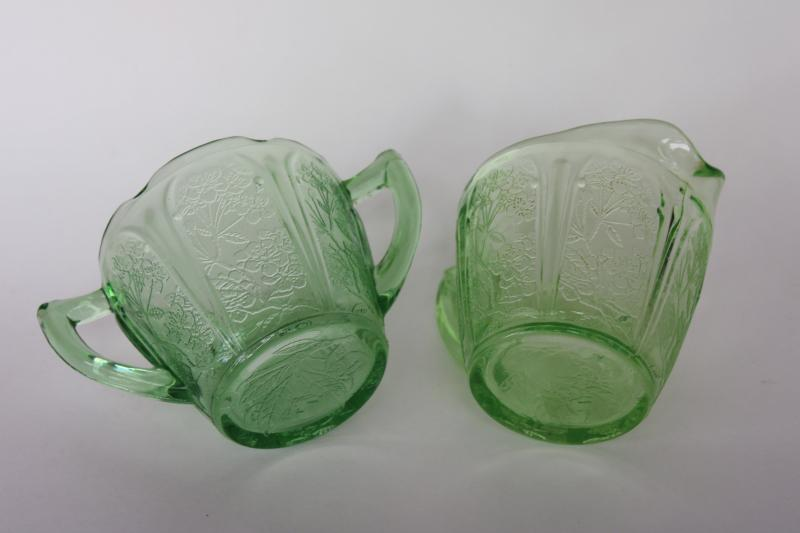 vintage cherry blossom pattern green depression glass, cream pitcher & sugar bowl set