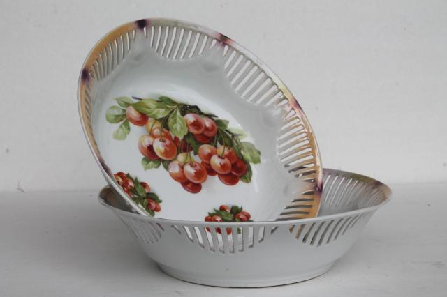 vintage cherry bunch fruit bowls, antique Bavaria porcelain open border ribbon china