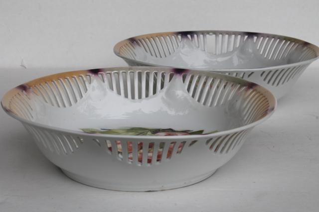 vintage cherry bunch fruit bowls antique Bavaria porcelain open border ribbon china & vintage cherry bunch fruit bowls antique Bavaria porcelain open ...