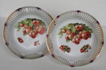 vintage cherry bunch fruit bowls, antique Bavaria porcelain open border ribbon china