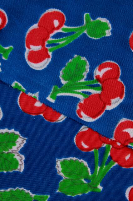 vintage cherry print polyester tricot fabric, retro dress / lingerie material