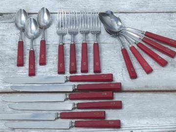 vintage cherry red bakelite handle utensils, D french monogram flatware