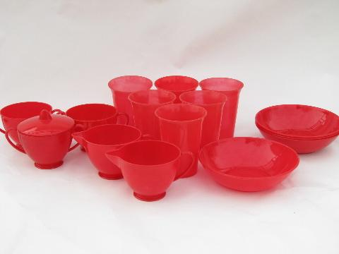 vintage cherry red plastic picnic dishes, 1950s Gothamware bowls, tumblers