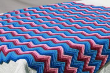 vintage chevron striped crochet afghan in shades of pink & blue, crocheted wool blanket