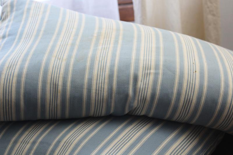 vintage chicken feather bed pillows, striped cotton ticking pillows farmhouse style