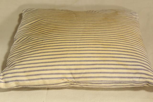 vintage chicken feather pillow, blue & white ticking stripe chair seat cushion