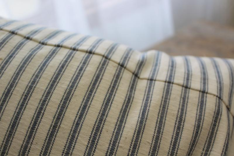 vintage chicken feather pillow, farmhouse indigo blue striped cotton ticking fabric