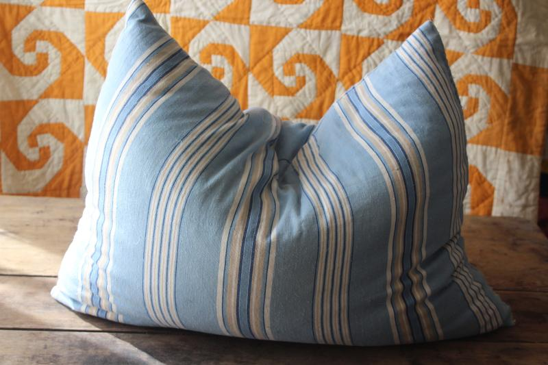 vintage chicken feather pillow, farmhouse style soft blue striped cotton fabric