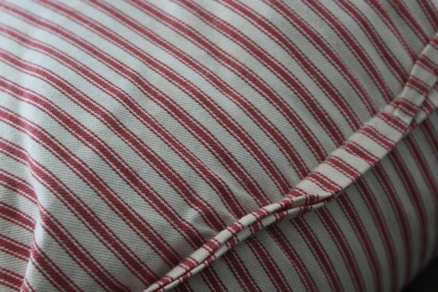 vintage chicken feather pillow in barn red striped cotton ticking fabric cover