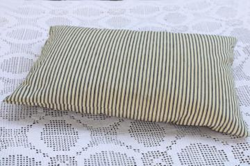 vintage chicken feather pillow, indigo blue striped heavy cotton ticking fabric cover