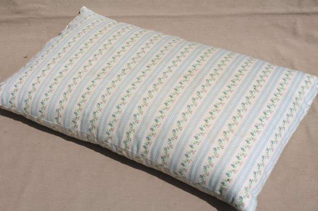 vintage chicken feather pillow w/ old flowered cotton ticking fabric