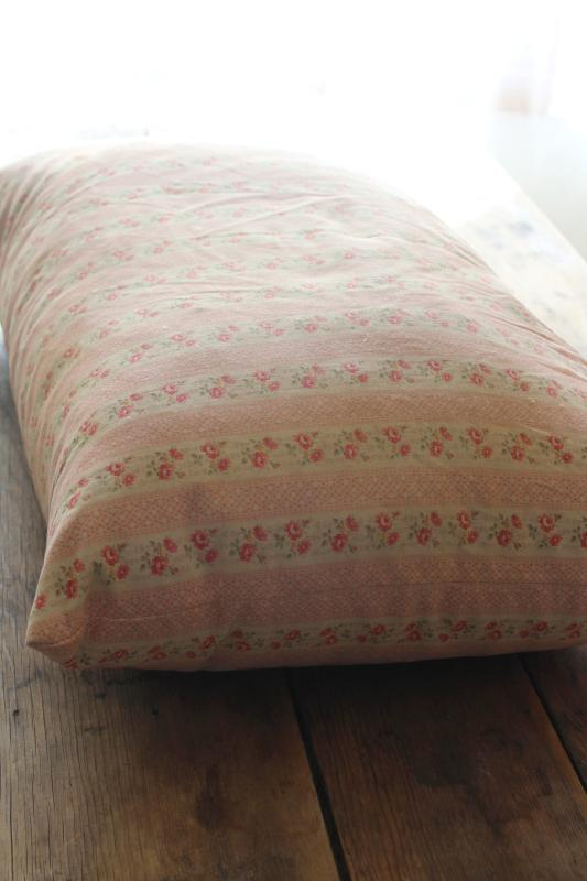 vintage chicken feather pillow, pink & white print floral striped cotton ticking fabric