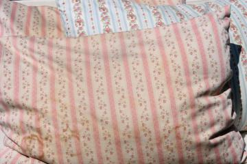 vintage chicken feather pillows w/ pretty flowered cotton ticking fabric