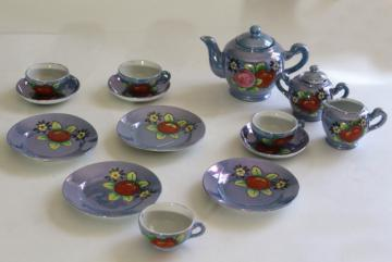 vintage child's china tea set, hand painted Made in Japan porcelain doll dishes