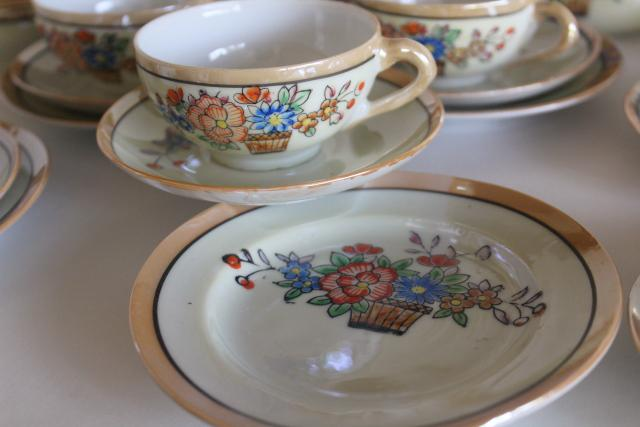 vintage child's size china tea sets, mommy & me doll dishes hand painted made in Japan