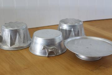 vintage child's size toy baking pans & cake stand, aluminum metal play kitchen cookware
