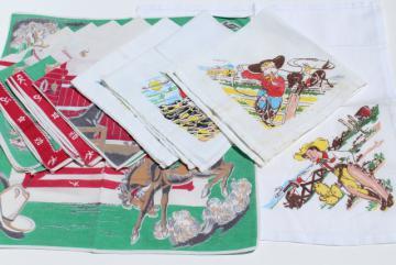vintage childrens hankies, western cowboy rodeo print cotton bandana handkerchiefs