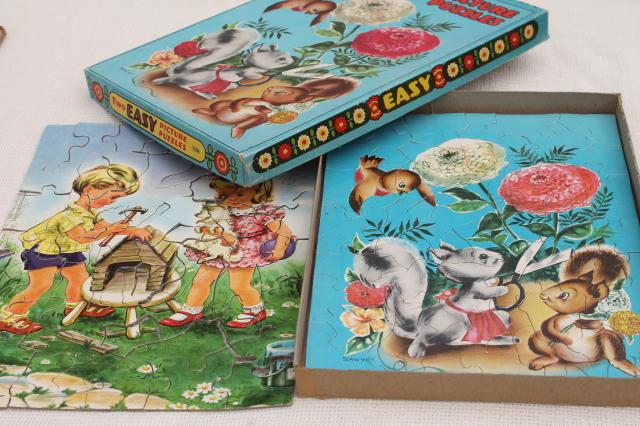 vintage children's jigsaw puzzles, wood & cardboard tray board puzzle lot