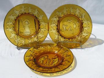 vintage children's nursery rhyme plates, amber Tiara / Indiana glass