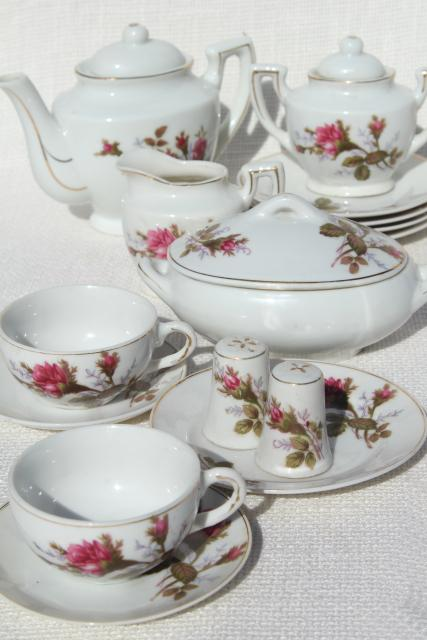 Vintage Child S Size China Tea Set Japan Moss Rose Pink