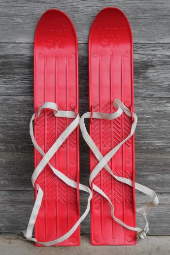 Vintage Child S Size Skis Red Plastic Mini Ski Set W