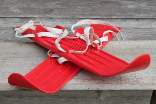 Vintage Childs Size Skis Red Plastic Mini Ski Set W