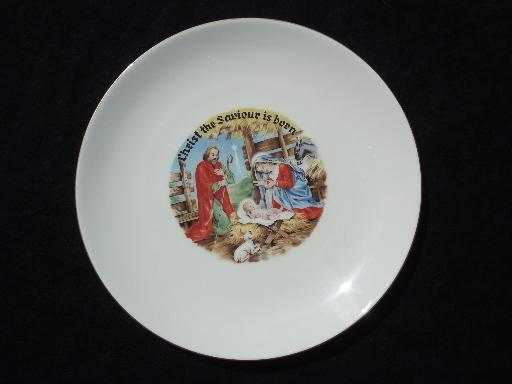 vintage china Christmas nativity plate Christ the Saviour is Born