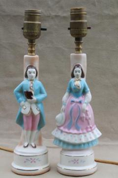 vintage china boudoir lamps, pair of painted pottery figurines french couple