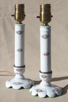 vintage china boudoir lamps, pair of vanity table lamps white porcelain w/ pink roses