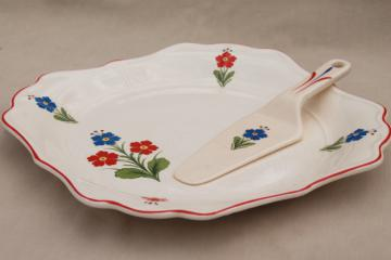 vintage china cake plate w/ server, square sandwich / petit fours tray w/ flowers
